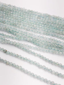 HALF OFF SALE - Aquamarine Gemstone Beads, Full Strand, Semi Precious Gemstone, 13""