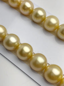 13-13.9mm Golden South Sea Pearl Necklace Set Strand, Natural Color