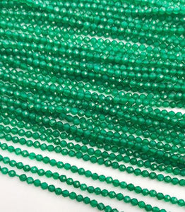 HALF OFF SALE- Green Onyx Gemstone Beads, Full Strand, Semi Precious Gemstone, 13""