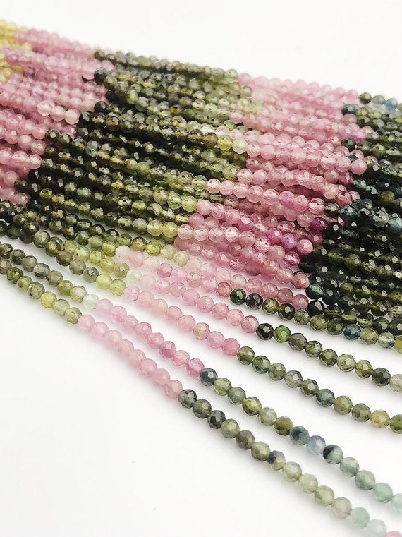HALF OFF SALE - Tourmaline Gemstone Beads, Full Strand, Semi Precious Gemstone, 13