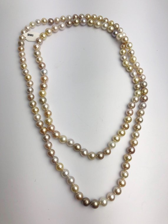 9-11mm Golden South Sea Pearl Necklace Strand, Natural Color, AAA Quality, 48 inches