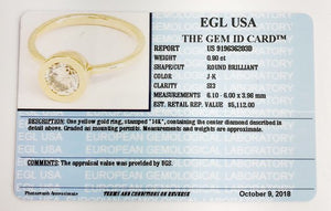 14K Gold 1 Carat Diamond Ring - US Sizes 4 - 11 Available - EGL USA Certified