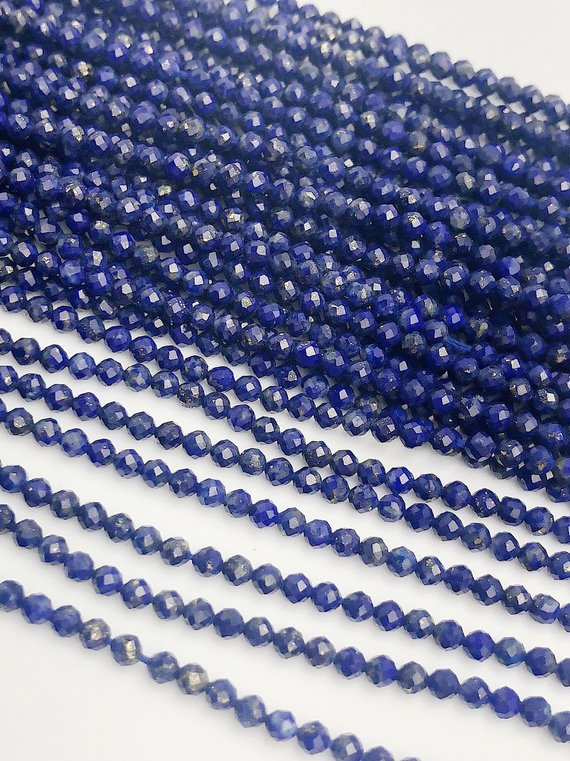 HALF OFF SALE - Blue Lapis Gemstone Beads, Full Strand, Semi Precious Gemstone, 13