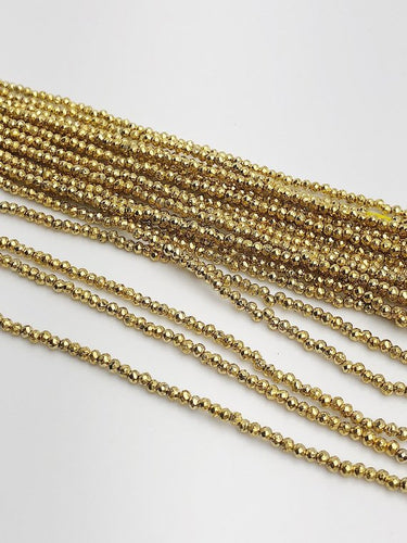 HALF OFF SALE - Pyrite Gemstone Beads, Full Strand, Semi Precious Gemstone, 13