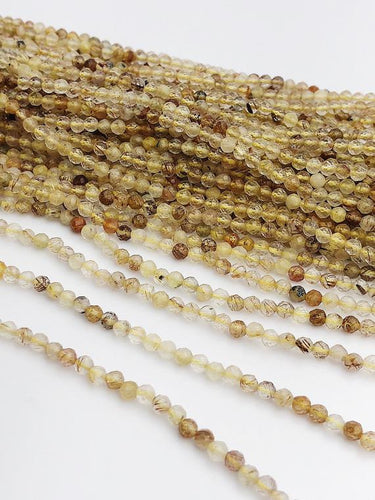 HALF OFF SALE - Rutilated Quartz Gemstone Beads, Full Strand, Semi Precious Gemstone, 13