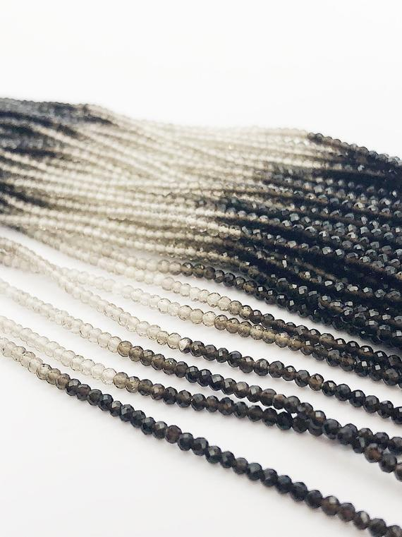 HALF OFF SALE - Shaded Smokey Quartz Gemstone Beads, Full Strand, Semi Precious Gemstone, 13