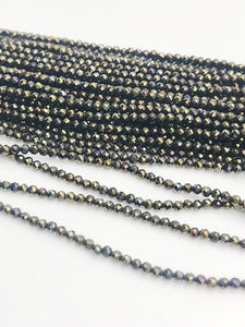 HALF OFF SALE - Coated Black Spinel Gemstone Beads, Full Strand, Semi Precious Gemstone, 13""