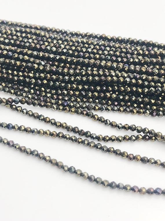 HALF OFF SALE - Coated Black Spinel Gemstone Beads, Full Strand, Semi Precious Gemstone, 13