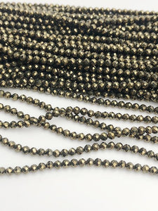 HALF OFF SALE - Pyrite Gemstone Beads, Full Strand, Semi Precious Gemstone, 13""