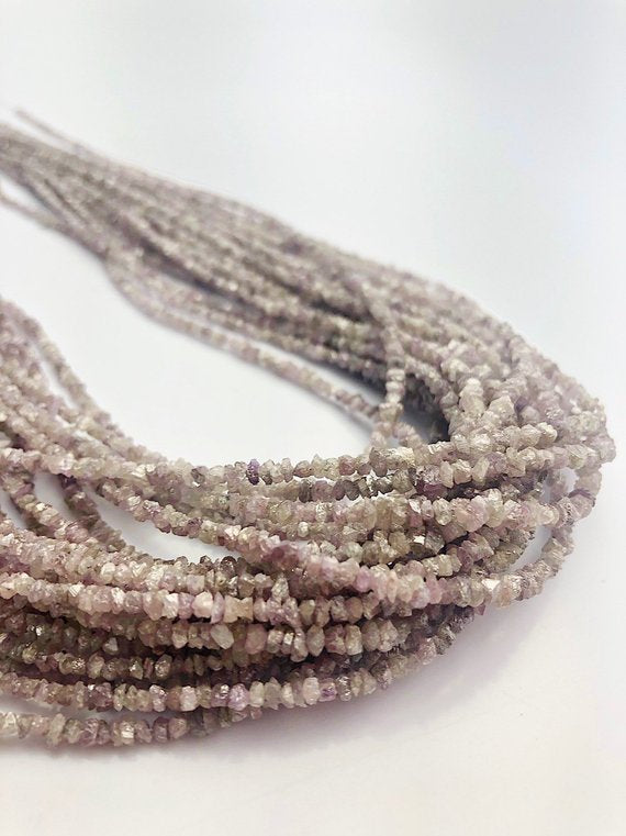 Pink Lavender Diamond Chip Gemstone Beads, All Natural Color, Full Strand, 15