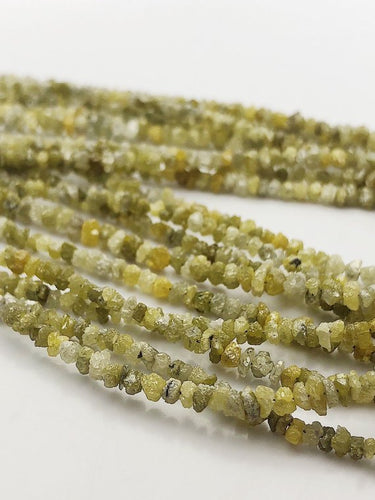 Natural Yellow Diamond Chip Gemstone Beads, Full Strand, 16