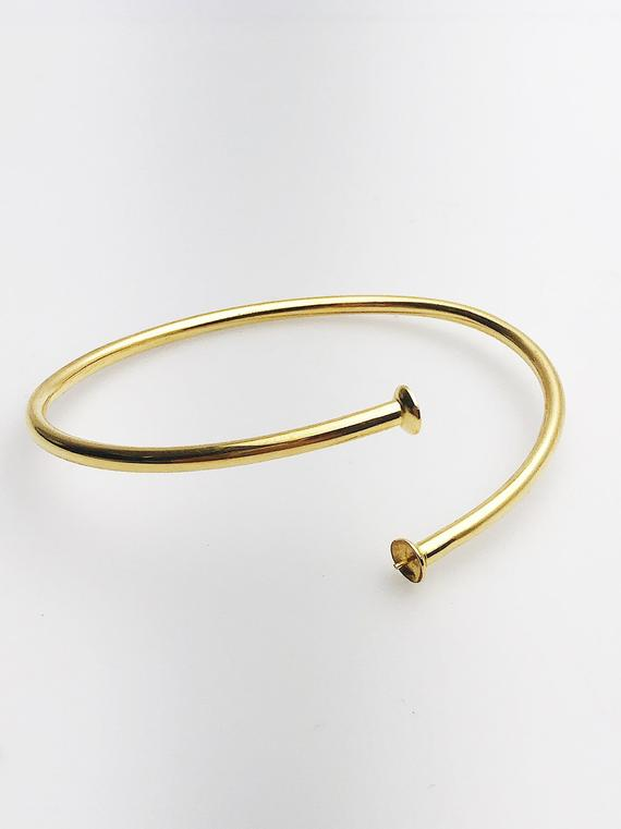 14K Gold Fill Flex Bangle Bracelet with Pearl Settings, 8