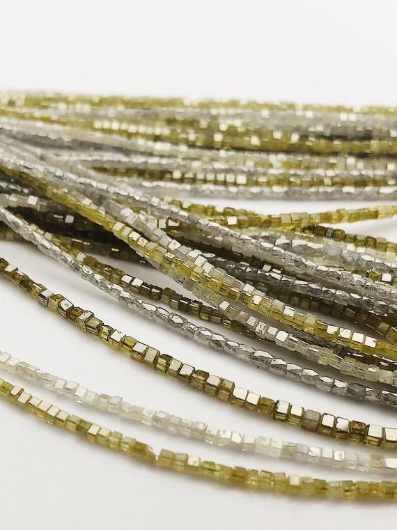 Diamond, Box cut, Genuine Diamonds, Gemstone Beads, All Natural Color, Full Strand, 14