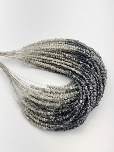 Rough Gray and Black Diamonds, Gemstone Beads, Half Strand, 4.5