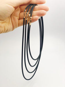 "14K Gold Filled & Black Rubber Necklaces. 16"", 18"", 20"", 22"" Available."