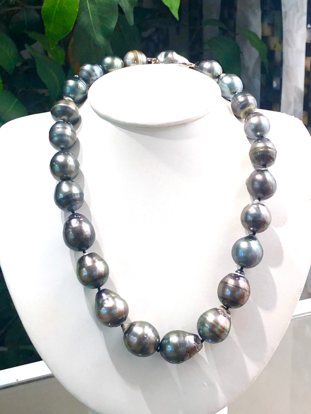 "19 "" finished tahitian peacock pearl necklace, 14mm - 17mm w / sterling silver ball clasp , SKU# 070761"