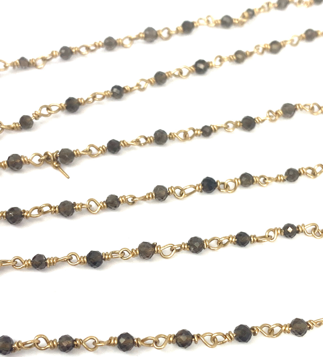 Smoky Gemstone 14KGF Chain