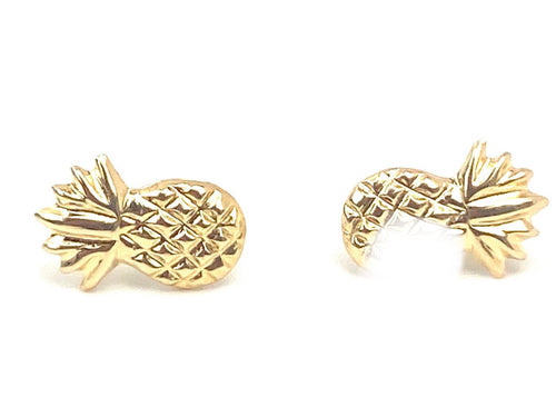 14K Solid Gold Pineapple Studs, Sku#1161-2
