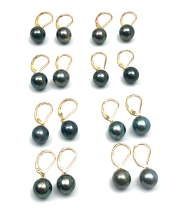 Tahitian pearl earrings with 14KGF lever backs, SKU#070784
