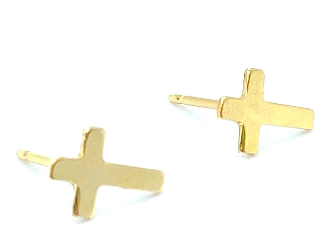 14KGF Cross Studs , Sku#22.020-4