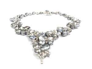 18K White Gold Keshi Tahitian pearls, Diamond Flower Necklace, Sku#043-00422