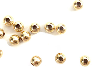 14K Solid Gold 4mm Round Beads, Sku#064brp10400000 HMF1040A