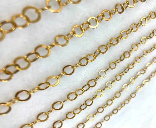 14KGF Hammered Cable Chain