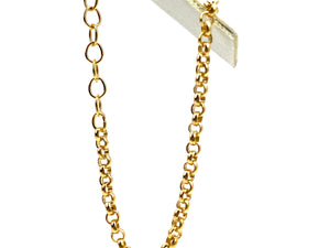 14KGF 6.5inch 2.5mm Rolo Chain w/ 1 inch Extender , Sku#401239665LX