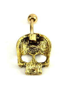 Stainless steel curve bar skull belly ring, SKU# NBR003-1