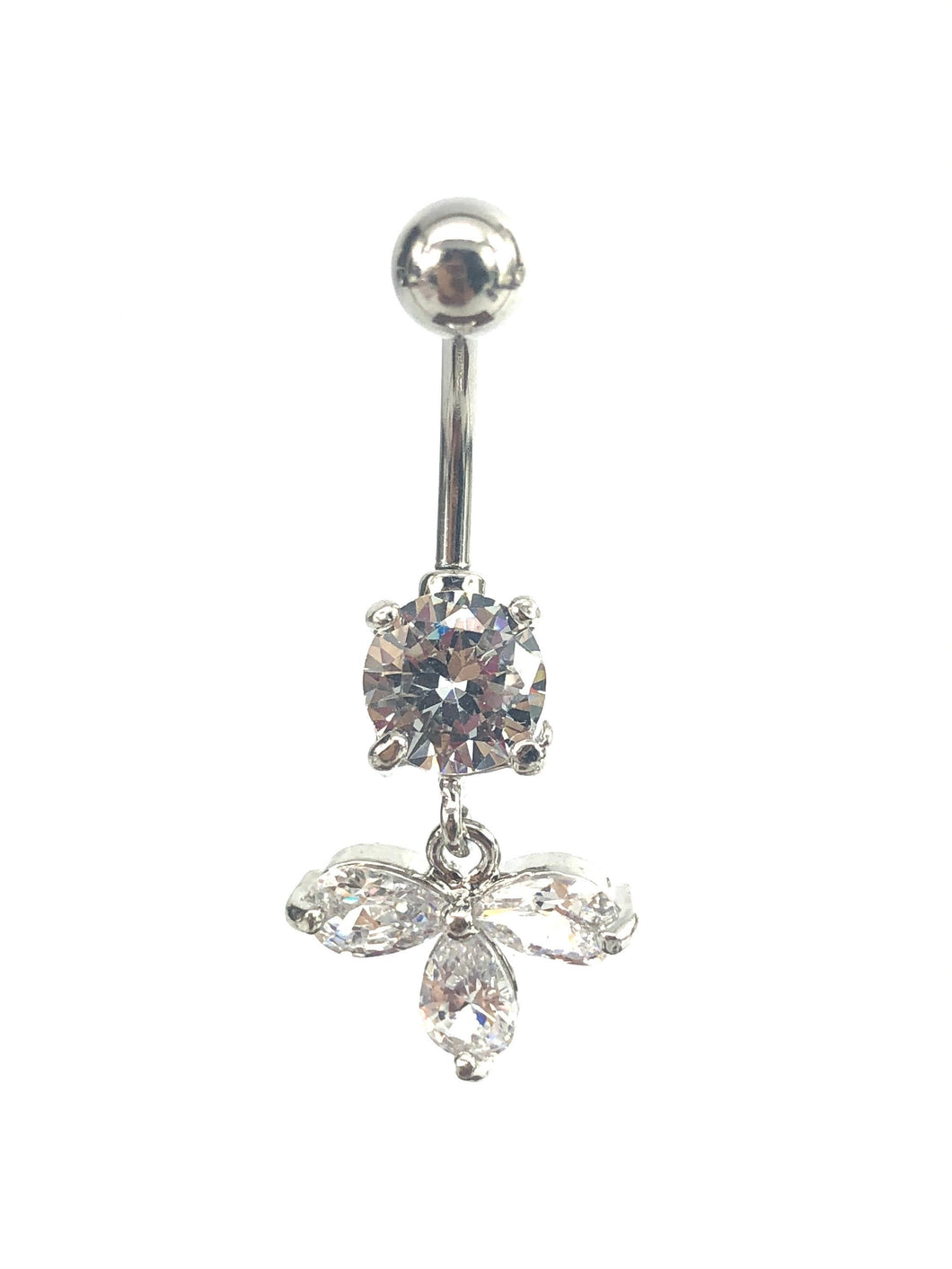 Stainless steel curve bar , w/ gem belly ring, SKU# 10-3-1