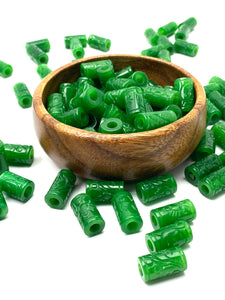 Stunning jade bead, green carved , SKU#10046
