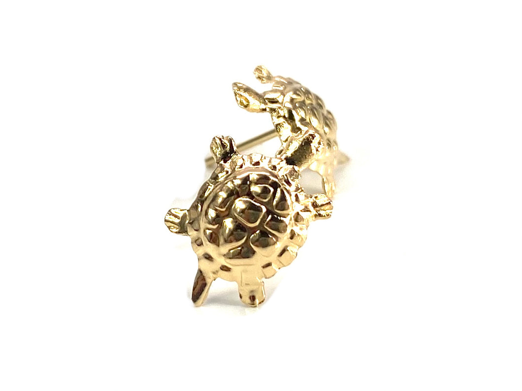 14K Solid Gold Turtle Studs , Sku#E45-2
