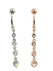 Stainless steel curve bar w/ gem belly ring, SKU# NBR020