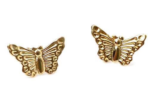 14K Solid Gold Butterfly Studs, Sku#243-2