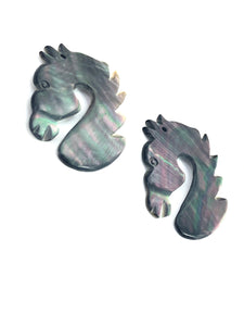 Black Tahitian Mother Of Pearl Horse Sku#M359