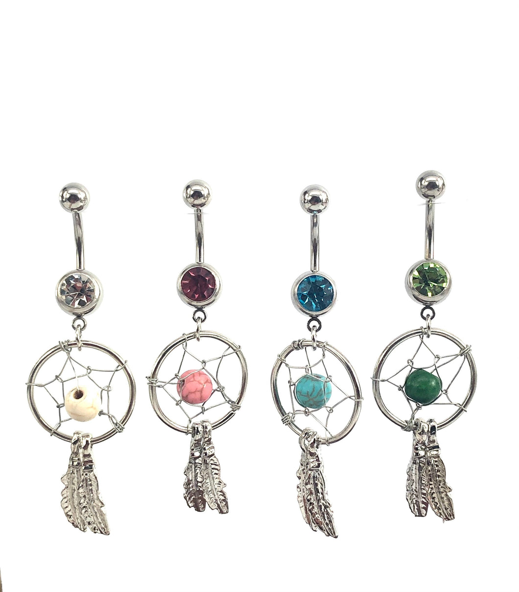 Stainless steel curve bar , dream catcher gem belly ring, SKU# NBR029