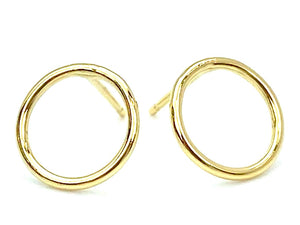 14KGF 10mm Round Wire Post Earring , Sku#400C10P