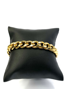 "14KGF 8.5"" 9mm Curb Chain Bracelet, 14KGF, 14K Gold Filled, 14K Gold Fill, Sku:SM94LC-8.5"