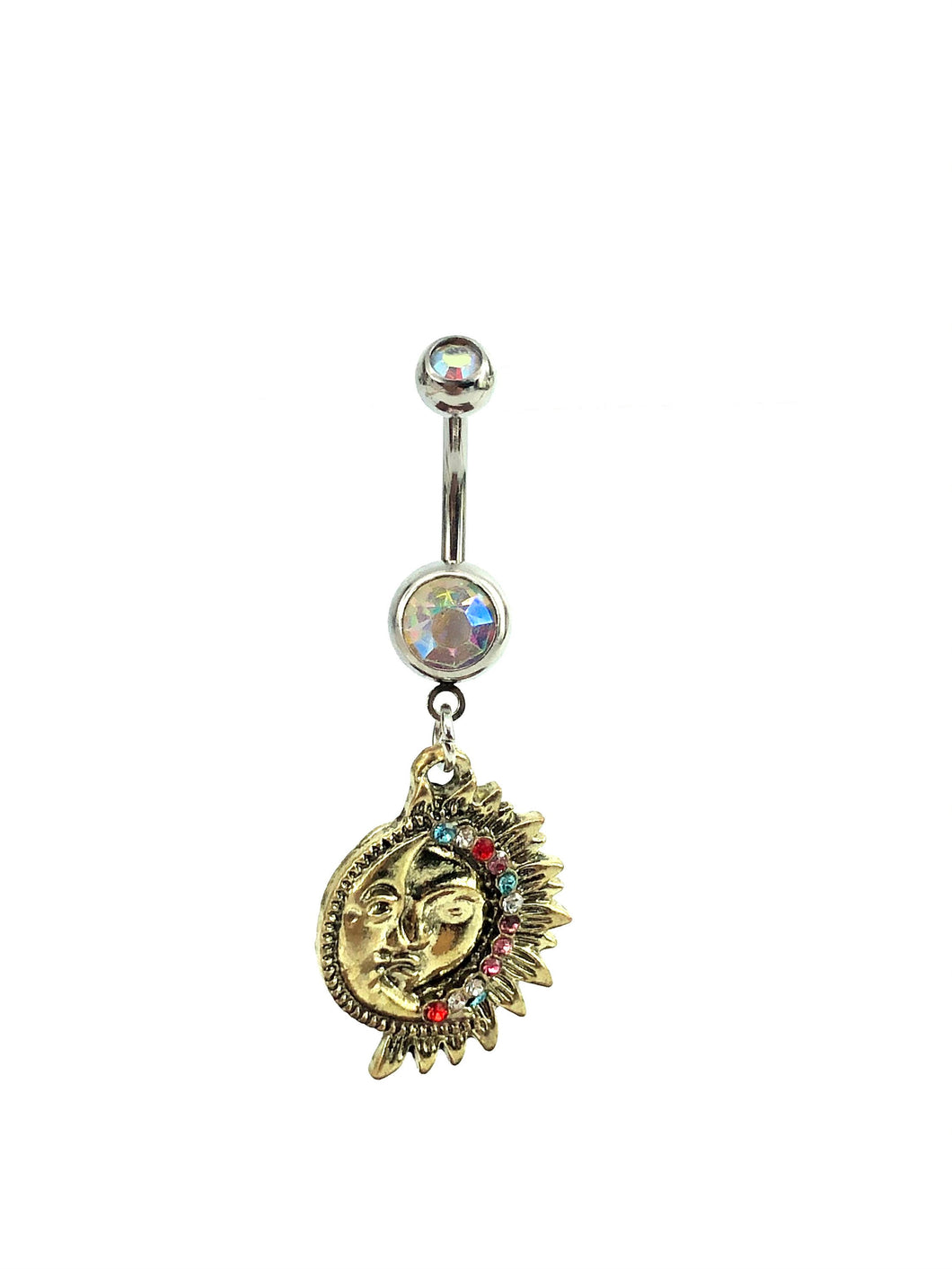 Stainless steel curve bar , sun & moon gem belly ring, SKU# NBT021