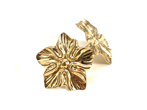 14K Solid Gold Flower Studs, Sku#1159-2