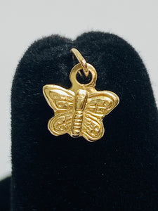 Cute Small Textured Butterfly Finding/Charm (14KGF) 0.6mm X 6mm sku #235-C
