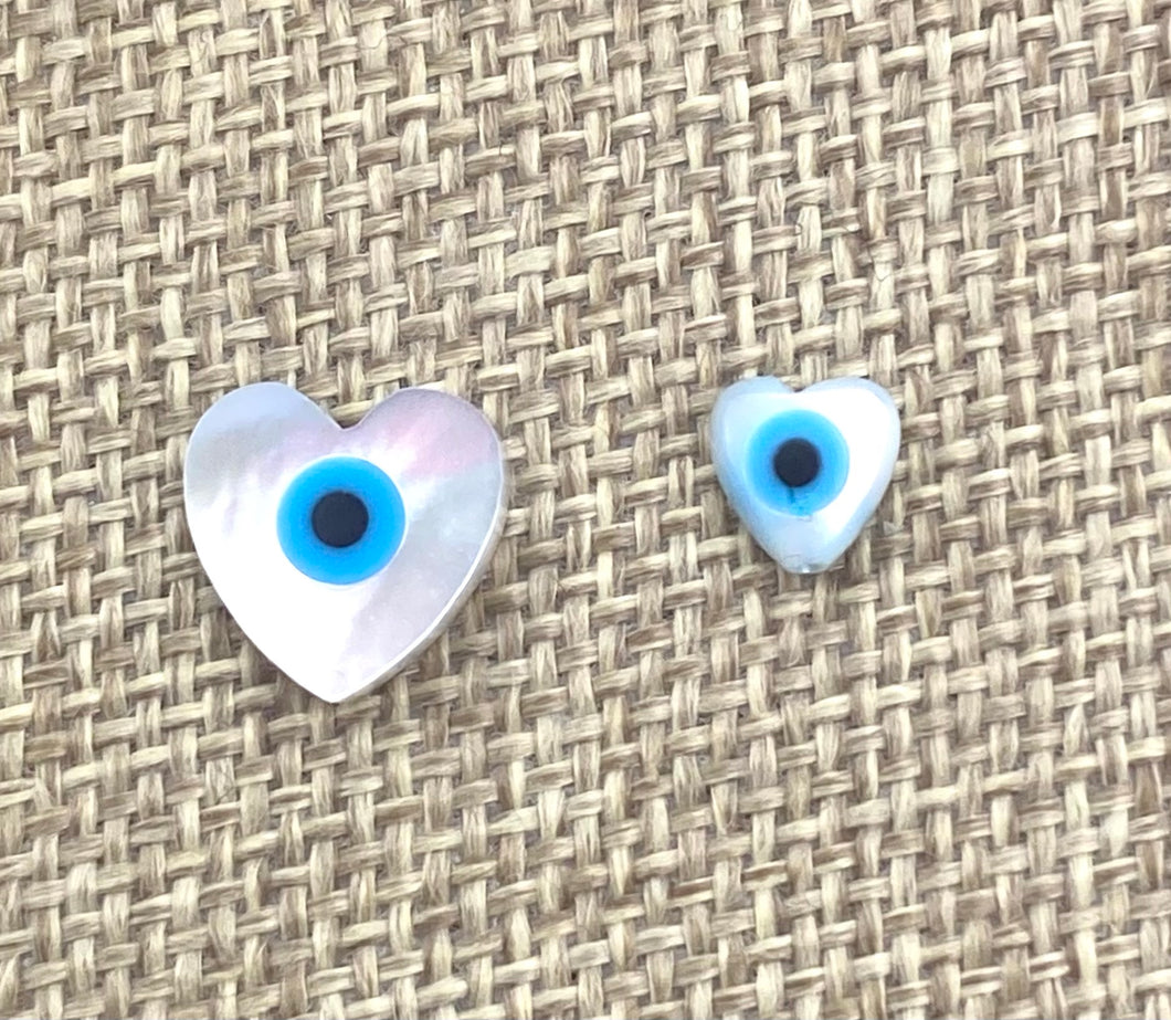 Mother Of Pearls Heart Beads, Small Heart Beads, Medium Heart Beads, Blue Eye Beads, Evil Eye Beads