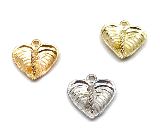 14K solid gold anthuriums charm w/ ring, SKU#L-3