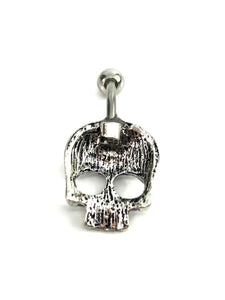 Stainless steel curve bar , skull belly ring, SKU# NBR003-2