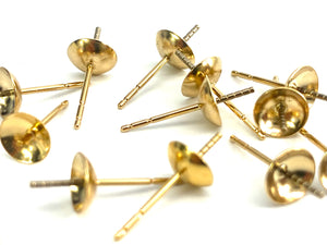 14K Solid Gold Ear Post 6mm Cup, Sku#11-28-1817