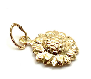 14K Solid Gold Sunflower Charm, Sku#1795-C