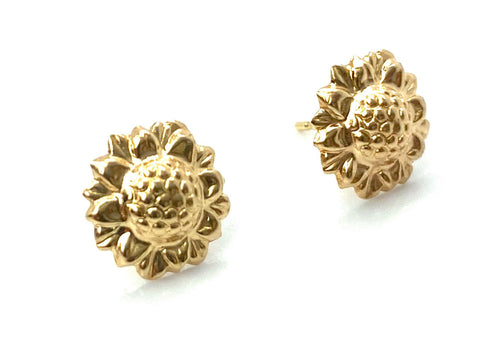 14K Solid Gold Sunflower Studs, Sku#1796-2