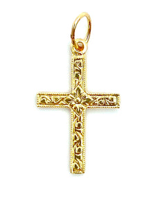 14KGF Cross Charm , Sku#1673-C
