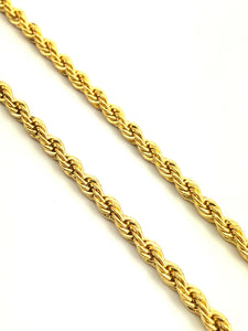 14KGF 4mm French Rope Chain Sku#FR-4