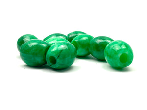Green shamrock jade bead, SKU# A49